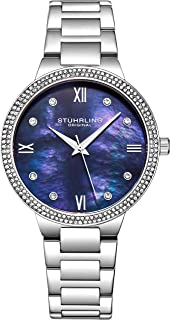 Stuhrling Original Womens Watch - Pave Crystal Bezel - Mother of Pearl Dial with Crystal Accents, 3907 Watches for Women C...