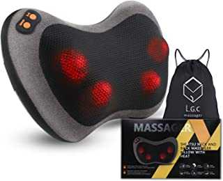 Shiatsu Neck Back Massager Kneading Massage Pillow With Heat for Back, Neck, Lower Back and Shoulder Massager with 4 Heated Rollers Dust Proof Cover Storage Bag for Stress Relax at Home Office and Car
