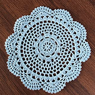 Vanyear Round Crochet Lace Doily Floral Design Fabric Coasters Doilies Value Pack, 4pcs/Set Light Blue Lace Doilies