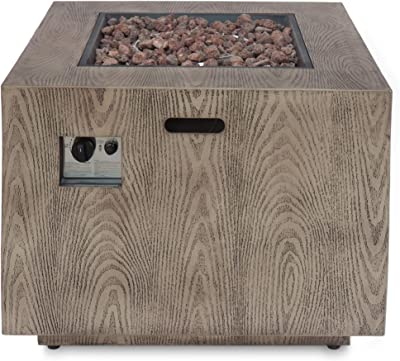 Christopher Knight Home 312827 Aaron Outdoor 33-Inch Square Fire Pit, Brown Wood Pattern