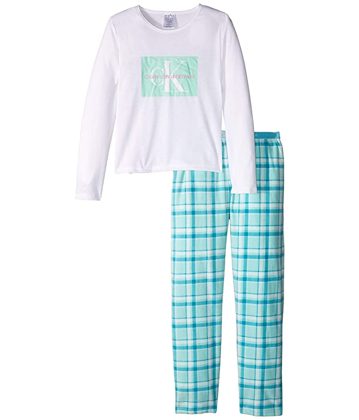 Piece Set Long Sleeve Top w/ Cozy Pants (Little Kids/Big Kids) (Classic White/CK Teal Plaid) Girl's Pajama Sets