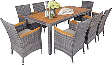 Tangkula 9 Pieces Patio Dining Set, Garden Acacia Wood and Wicker Furniture Set with 1 Rectangular Table & 8 Chairs with