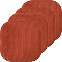 "Sweet Home Collection Chair Cushion Memory Foam Pads Honeycomb Pattern Slip Non Skid Rubber Back Rounded Square 16"" x 16"" ..."
