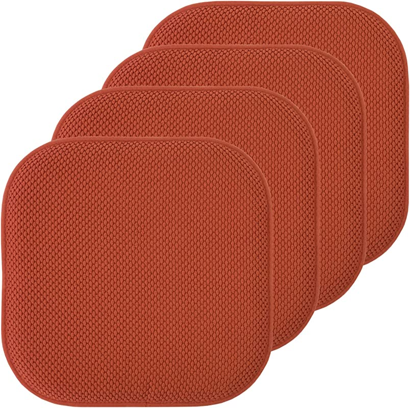 Sweet Home Collection Chair Cushion Memory Foam Pads Honeycomb Pattern Slip Non Skid Rubber Back Rounded Square 16 X 16 Seat Cover 4 Pack Rust