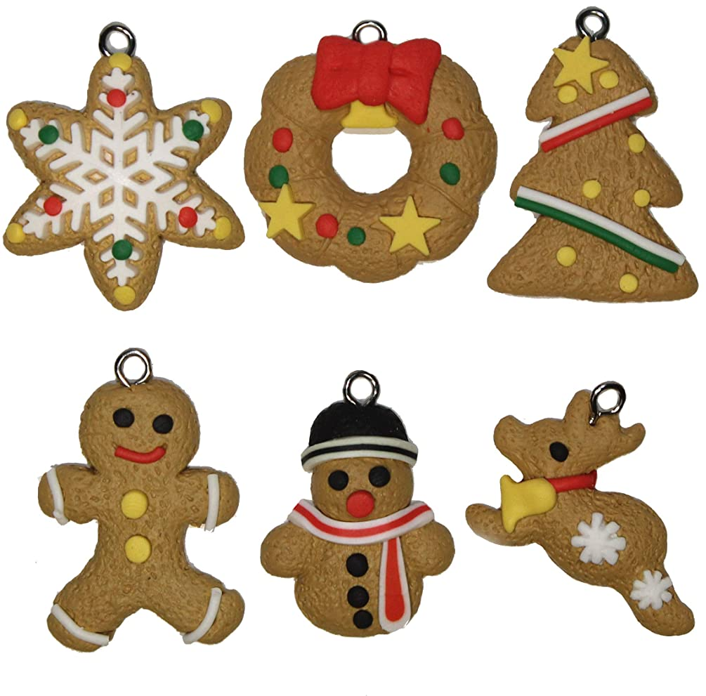 Lucore Christmas Cookie Clay Pendant Charms, 6 pc DIY Decorations for Necklace Bracelet Jewelry Crafts & Holiday Accents