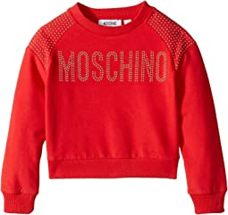 Moschino Kids - Long Sleeve Sweat Top w/ Logo and Shoulder Studs (Little Kids/Big Kids)