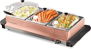 Nostalgia BSC15 3-Station 1.5-Quart Buffet Server Warming Tray, Copper