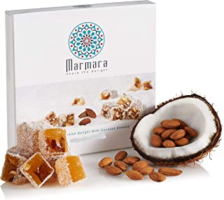 Turkish Delights with Almonds with Coconut Authentic Hand Made Gourmet Sweet Candy Box Dessert 4.4 ounce 6-8 Large 2 inch ...