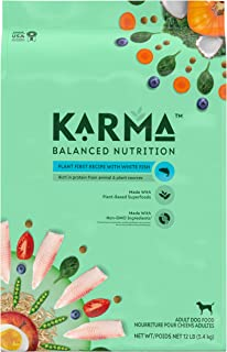 KARMA BALANCED NUTRITION Adult Plant-First Recipe, Natural Dry Dog Food with White Fish, 12 lb. Bag