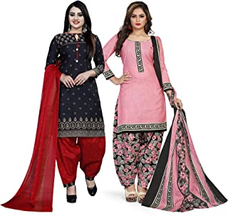 Rajnandini Women's Black And Light Pink Cotton Printed Unstitched Salwar Suit Material (Combo Of 2) (Free Size)