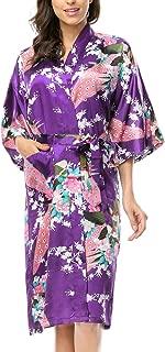 Womens Silk Satin Kimono Robes Long Sleepwear Dressing Gown Printed Pattern