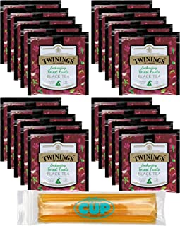 Twinings 20 Count Enchanting Forest Fruits Black Tea 20 Large Leaf Pyramid Tea Bags with By The Cup Honey Sticks