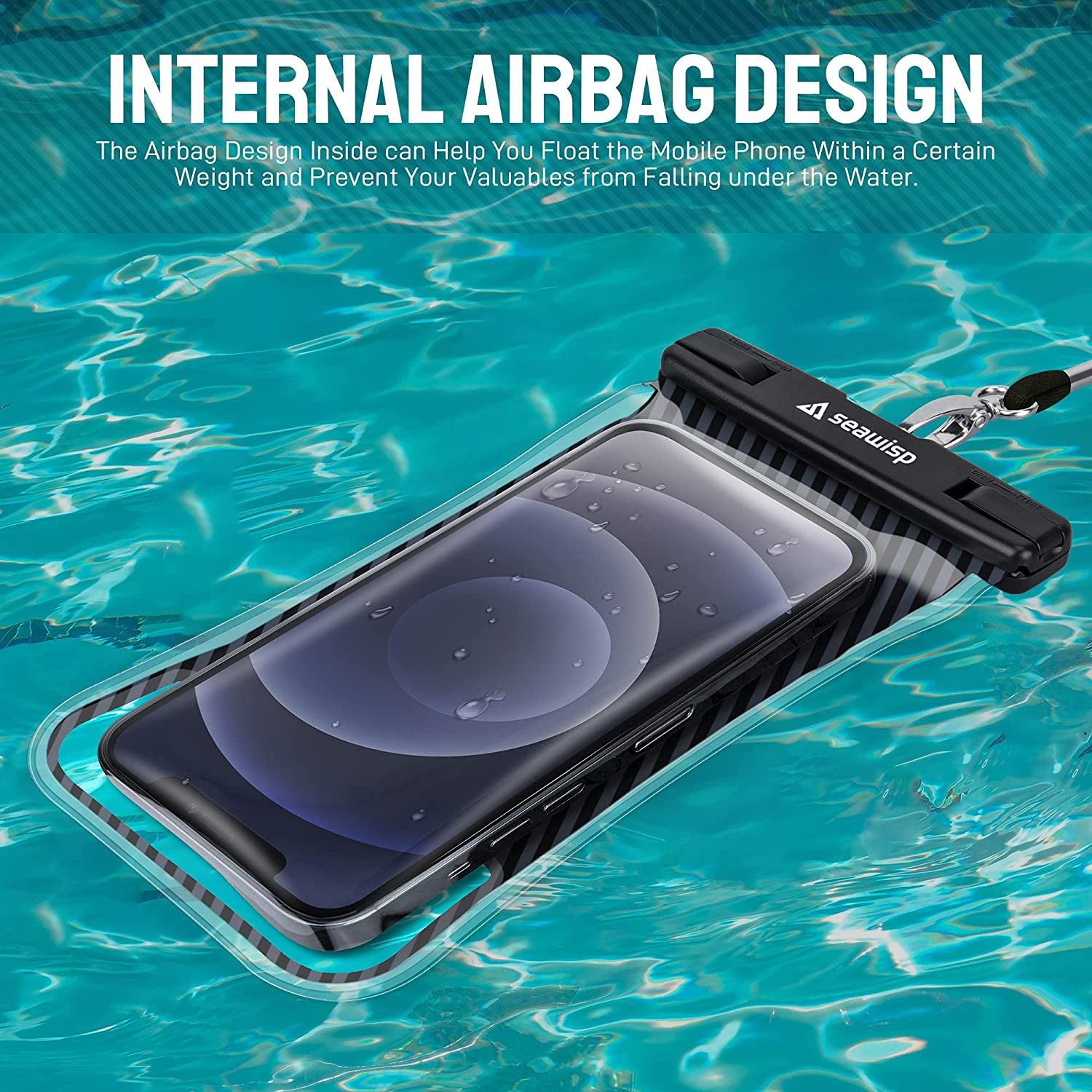 Seawisp Universal Waterproof Phone Case, Floating Pouch Cellphone Lanyard Dry Bag. Compatible with iPhone 12 Pro 11 Pro Xs XR X 8 7 6S Plus SE and More, for Kayaking Swimming Boating Traveling, Black