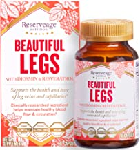 Reserveage - Beautiful Legs, Supports Circulation and Vascular Health to Help Reduce Spider Veins and Aching with Resveratrol, Diosmin, and Grape Seed Extract, Gluten Free, Vegan, 30 Capsules