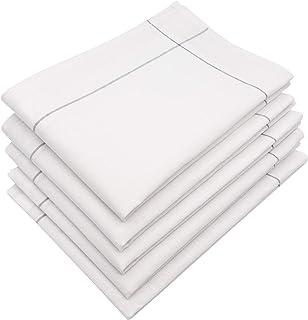 ZOLLNER 5 Serviettes de Cuisine, 60% Coton 40% Lin, 45 x 65 cm, Blanc-Gris
