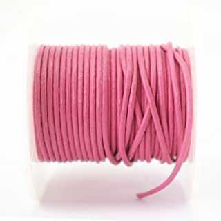 Glory Qin Soft Round Genuine Jewelry Leather Cord Leather Rope Beading String (1.5mm, Pink)