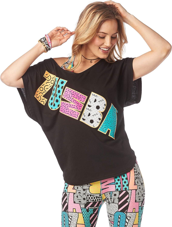 Zumba Top de Estampado de Moda Suelta de Entrenamiento para Mujer