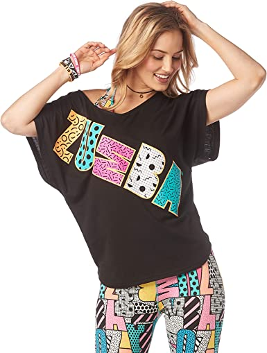 Zumba Active Dance Graphic Tees For Women Loose Fitness V-Neck Workout T Shirt Camisa, Mujer