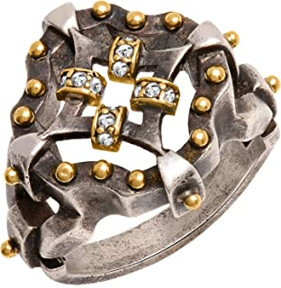 Rustic Finish Vintage Irish Celtic Kaleidoscope Design Ring Sterling Silver and 18K Combination with Natural Diamonds