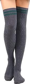 Jasmine Women's Knee High Cable Knit Striped Winter Socks - 1-3 Packs