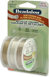 Beadalon Stringing Wire 7-Strand 0.015-Inch (0.38-Millimeter) Diameter, 10-Feet, Package of 3, Gold/Silver/Champagne