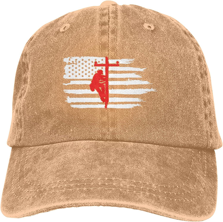 CUTEDWARF Lineman Flag Unisex Adjustable Cotton Baseball Hat Cowboy Cap Dad Hats Denim Trucker Hat