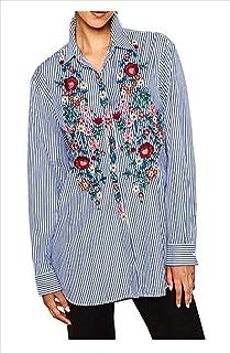 topmodelss紫外線 日焼け 冷房 対策 ボタニカル 花柄 刺繍 ストライプ シャツ ブラウス S M L レディース