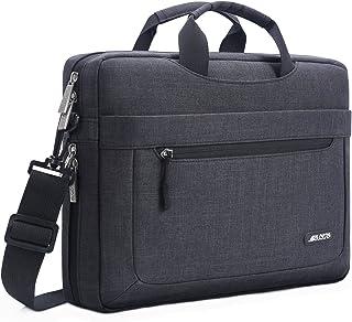 MOSISO Laptop Shoulder Bag Compatible with 17-17.3 Inch MacBook/Notebook/Chromebook/Tablet with Adjustable Depth at Bottom,Polyester Messenger Briefcase Carrying Handbag Sleeve Case Cover,Black