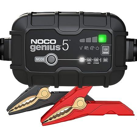 NOCO GENIUS5EU, Chargeur Intelligent Automatique de 5A, Chargeur de Batterie 6V et 12V, Mainteneur de Batterie, Chargeur de Maintien et Désulfateur de Batterie avec Compensation de Température