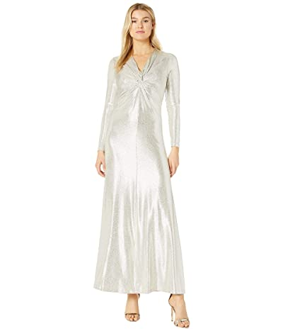 Tahari by ASL Long Sleeve Twist Front Metallic Stretch Gown (Silver Powder) Women