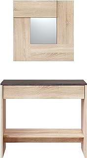 Habitdesign 0X6741F - Mueble recibidor con cajón y espejo acabado en color Roble Canadian y Oxido, medidas: 92 cm (ancho) x 79 cm (alto) x 33 cm (fondo)