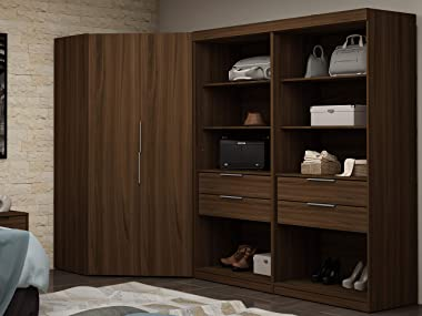 "Manhattan Comfort Rockefeller Mid Century Modern 2 Drawer Open Sectional Armoire Wardrobe Closet, 35.98"", Brown"
