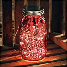 Primitives by Kathy Light Glass Lantern, 6.75-Inches Tall, Red