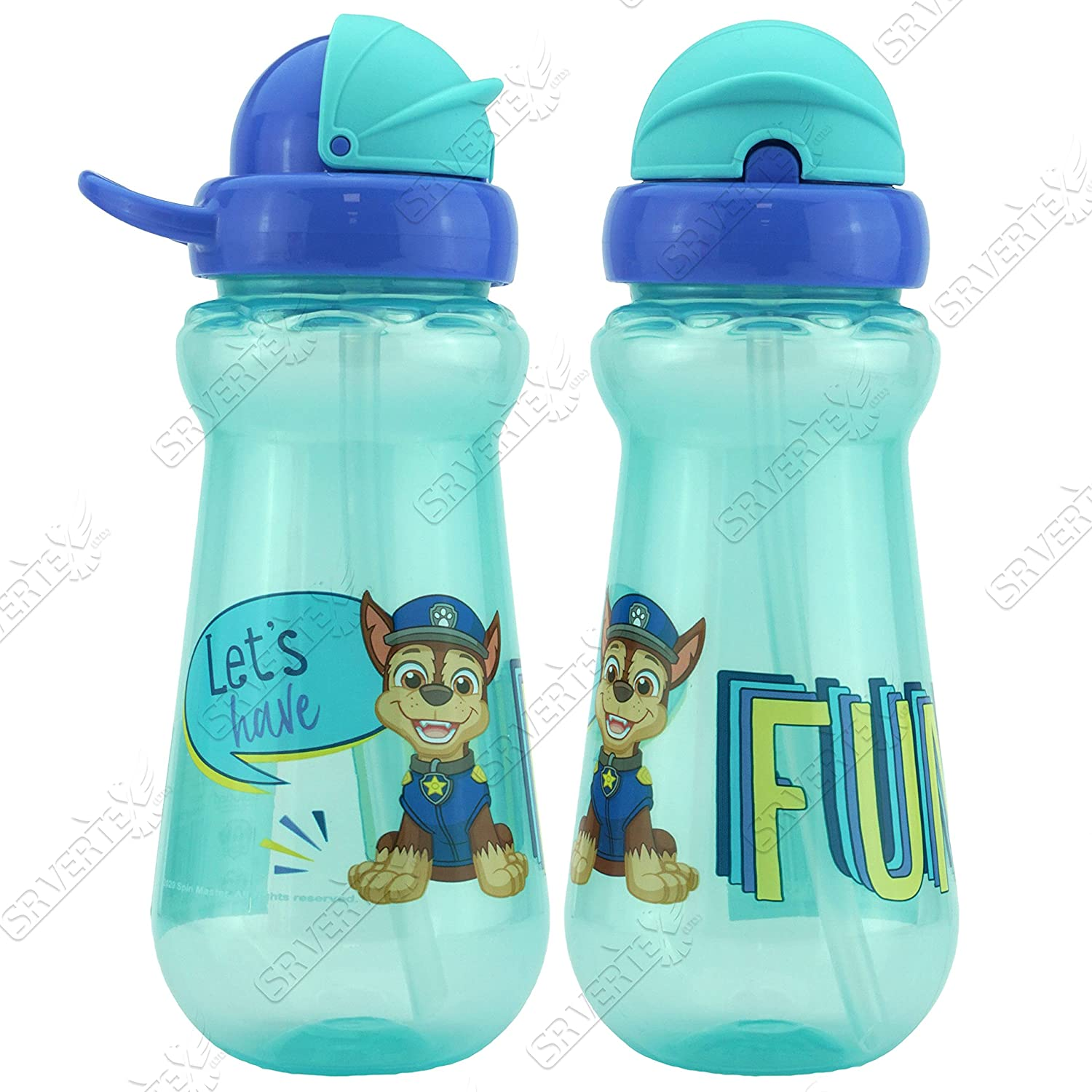SRV Hub/® 350 ml Straw Sipper Water Bottle with Flip Top for Kids Leak Proof Durable and Reusable PAW Patrol Chase Straw Sipper Blue BPA Free School Ideal for Sports Gift