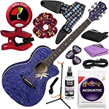 Luna Flora Passion Flower Acoustic-Electric Guitar (Transparent Purple) with Professional Guitar Stand and Deluxe Bundle
