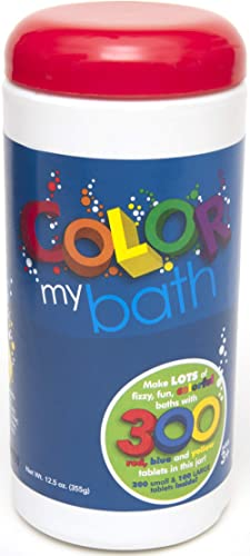 Color My Bath 133- 300 Tablet Jar - Fizzing Tub Water Primary Color Changing Tabs, Fun and Educational Bathtime Activ...