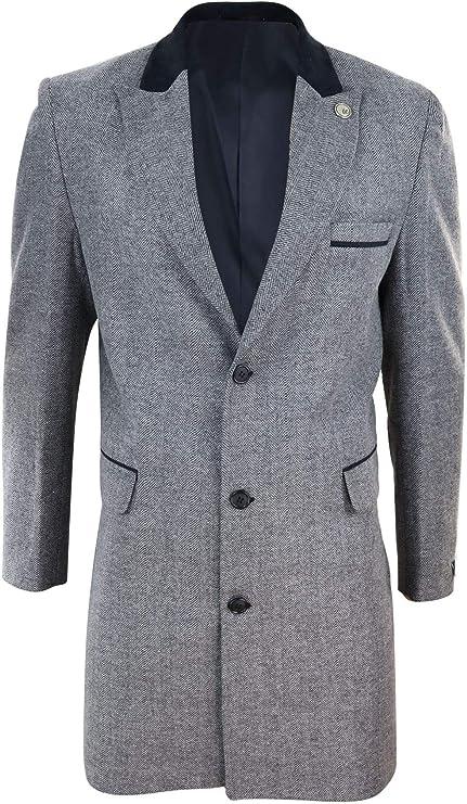 1920s Men's Coats & Jackets History Mens 3/4 Long Crombie Overcoat Jacket Herringbone Tweed Coat Blinders Fit £69.99 AT vintagedancer.com