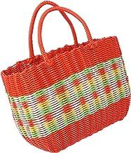 FRCOLOR Summer Rattan Handbag Vegetables Basket Woven Shopping Bag Straw Rattan Tote Shoulder Bag for Shopping Market Picn...