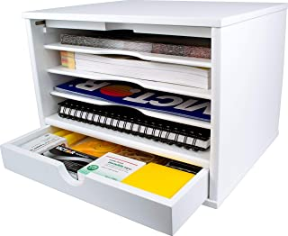 Victor Wood Desktop Organizer with Closing Door, W4720 (Pure White), No Assembly Required (Renewed)