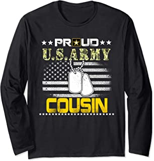 Vintage Proud Cousin U.S.Army Veteran Flag Gift Long Sleeve T-Shirt