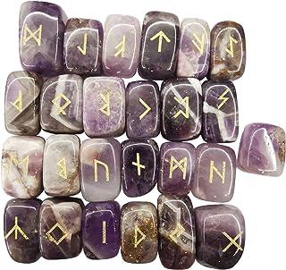 Loveliome Natural Rune Stones Set, Polished Engraved Elder Futhark Alphabet Magic Lettering Crystal for Meditation Divinat...