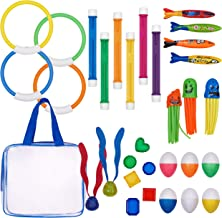 Pool Diving Toys Colorful Diving Rings Swim Toys Numbered Diving Sticks Durable Toypedo Bandits Lighting Dive Balls Diving Treasures Octopus Diving Egg With Portable Storage Bag For Kids 31 Piece