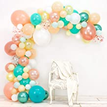 Junibel Balloon Arch & Garland Kit   Blush, Rose Gold Confetti, White, Chrome Sea Foam, Pastel Yellow   Glue Dots & Decorating Strip   Holiday, Wedding, Baby Shower, Anniversary & Party Decorations