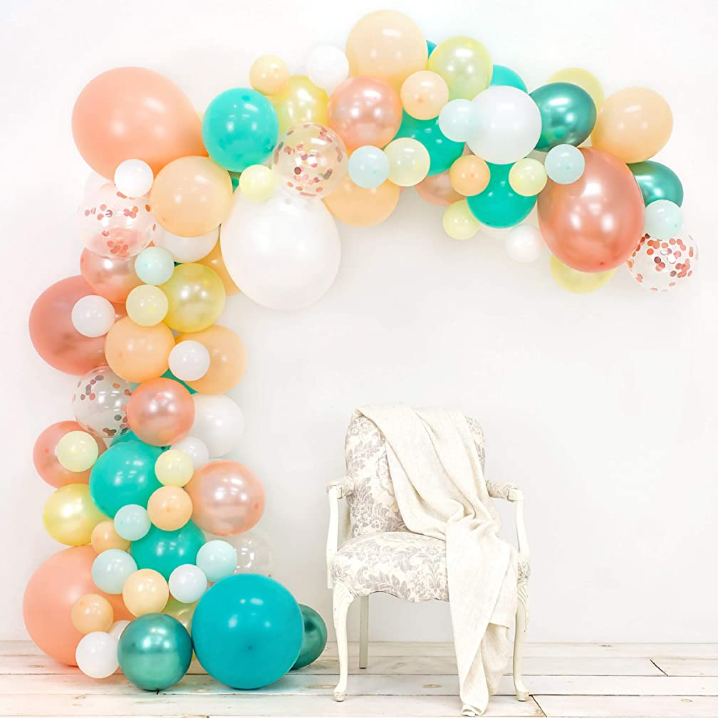 JUNIBEL Balloon Arch & Garland Kit | Blush, Rose Gold Confetti, White, Chrome Sea Foam, Pastel Yellow | Glue Dots & Decorating Strip | Holiday, Wedding, Baby Shower, Anniversary & Party Decorations