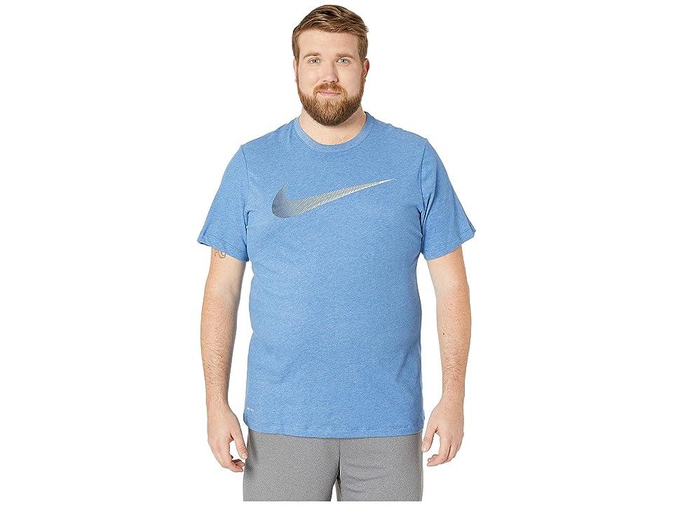 Nike Big Tall Dry Tee Dri-Fit Cotton 2 Year Swoosh (Light Game Royal Heather/Obsidian) Men