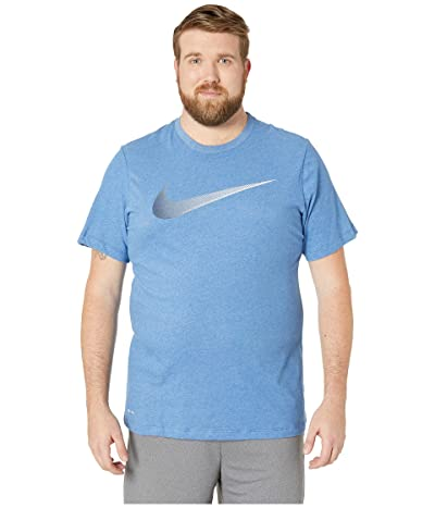 Nike Big Tall Dry Tee Dri-Fit Cotton 2 Year Swoosh (Light Game Royal Heather/Obsidian) Men
