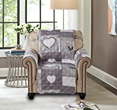 Sofa Chair Protector 23 Inch Patchwork Pet Proof Furniture Cover for Living Room Heart Love Print Reversible Quilted Scrol...