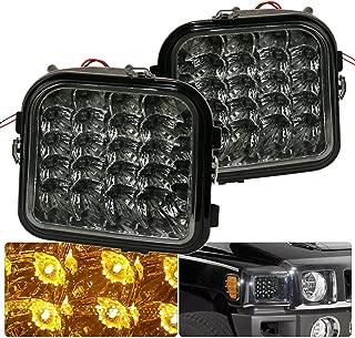 AJP Distributors For Hummer H3 H3T Smoked Lens Led Amber Signal Bumper Lights Corner Lamps Signal Parking 2006 2007 2008 2009 2010 06 07 08 09 10