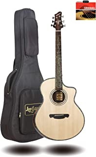 """41"""" Solid Top Acoustic Guitar in Natural Gloss for Performance - Sitka Spruce Top and Rosewood Back and Side - Comfortable Arm Counter and D`Addario String EXP-16 installed"""