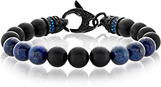 "Crucible Jewelry Mens Black Matte Onyx and Lapis Lazuli Bead Stainless Steel Bracelet (10mm Wide) - 8.5"", Blue/Black, One ..."